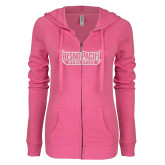 ENZA Ladies Hot Pink Light Weight Fleece Full Zip Hoodie-Fresno Pacific Athletics Stacked White Soft Glitter
