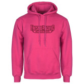 Fuchsia Fleece Hoodie-Fresno Pacific Athletics Stacked Hot Pink Glitter