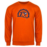 Orange Fleece Crew-Sunbird Head