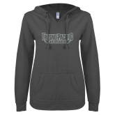 ENZA Ladies Dark Heather V Notch Raw Edge Fleece Hoodie-Fresno Pacific Athletics Stacked Silver Soft Glitter