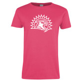 Ladies Fuchsia T Shirt-Sunbird Head