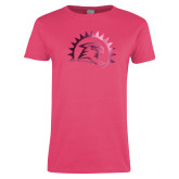 Ladies Fuchsia T Shirt-Sunbird Head Foil