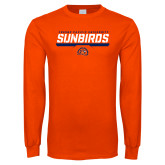 Orange Long Sleeve T Shirt-Fresno Pacific University Sunbirds Stencil