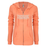 ENZA Ladies Coral Light Weight Fleece Full Zip Hoodie-Fresno Pacific Athletics Stacked White Soft Glitter