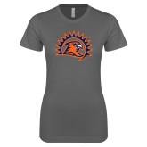 Ladies SoftStyle Junior Fitted Charcoal Tee-Sunbird Head