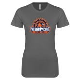 Ladies SoftStyle Junior Fitted Charcoal Tee-Fresno Pacific Sunbirds Stacked