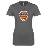 Ladies SoftStyle Junior Fitted Charcoal Tee-Sunbirds Soccer Shield