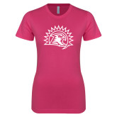 Ladies SoftStyle Junior Fitted Fuchsia Tee-Sunbird Head