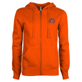 ENZA Ladies Orange Fleece Full Zip Hoodie-Sunbird Head