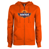 ENZA Ladies Orange Fleece Full Zip Hoodie-Official Logo