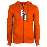 ENZA Ladies Orange Fleece Full Zip Hoodie-Angled FPU