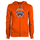 ENZA Ladies Orange Fleece Full Zip Hoodie-Sunbirds Soccer Shield