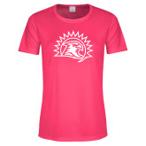 Ladies Performance Hot Pink Tee-Sunbird Head