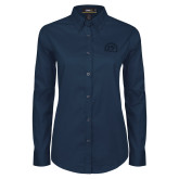 Ladies Navy Twill Button Down Long Sleeve-Sunbird Head