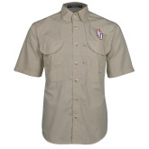 Khaki Short Sleeve Performance Fishing Shirt-Angled FPU