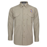 Khaki Long Sleeve Performance Fishing Shirt-Angled FPU