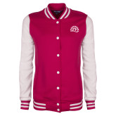 Ladies Pink Raspberry/White Fleece Letterman Jacket-Sunbird Head