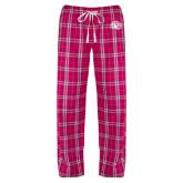 Ladies Dark Fuchsia/White Flannel Pajama Pant-Sunbird Head