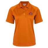 Ladies Orange Textured Saddle Shoulder Polo-Sunbird Head