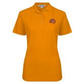Ladies Easycare Orange Pique Polo-Sunbird Head