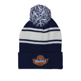Navy/White Two Tone Knit Pom Beanie w/Cuff-Official Logo
