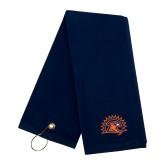 Navy Golf Towel-Sunbird Head