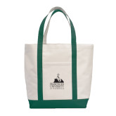 Contender White/Dark Green Canvas Tote-Franciscan University Mark
