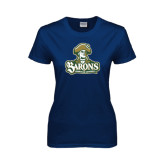 Ladies Navy T Shirt-Barons - Franciscan University - Official Logo