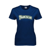 Ladies Navy T Shirt-Arched Franciscan
