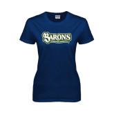 Ladies Navy T Shirt-Barons - Franciscan University