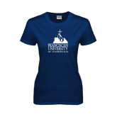 Ladies Navy T Shirt-Franciscan University Mark