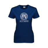 Ladies Navy T Shirt-Alumni - Seal