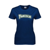 Ladies Navy T Shirt-Arched Franciscan Distressed