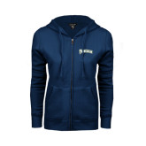 ENZA Ladies Navy Fleece Full Zip Hoodie-Arched Franciscan