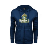 ENZA Ladies Navy Fleece Full Zip Hoodie-Barons - Franciscan University - Official Logo