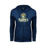 ENZA Ladies Navy Fleece Full Zip Hoodie-Barons - Franciscan University - Official Logo