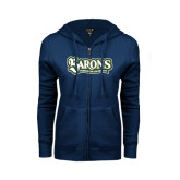 ENZA Ladies Navy Fleece Full Zip Hoodie-Barons - Franciscan University