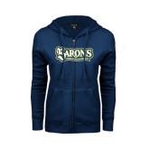 ENZA Ladies Navy Fleece Full Zip Hoodie-Barons - Franciscan University