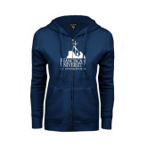 ENZA Ladies Navy Fleece Full Zip Hoodie-Franciscan University Mark