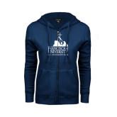 ENZA Ladies Navy Fleece Full Zip Hoodie-Franciscan University Mark