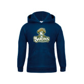 Youth Navy Fleece Hoodie-Barons - Franciscan University - Official Logo