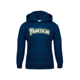 Youth Navy Fleece Hoodie-Arched Franciscan