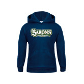 Youth Navy Fleece Hood-Barons - Franciscan University