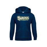Youth Navy Fleece Hoodie-Barons - Franciscan University