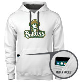 Contemporary Sofspun White Hoodie-Barons - Franciscan University - Official Logo
