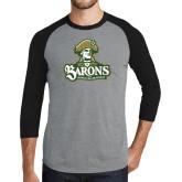 Grey/Black Tri Blend Baseball Raglan-Barons - Franciscan University - Official Logo