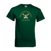 Dark Green T Shirt-Lacrosse Arched Cross Sticks Design