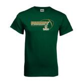 Dark Green T Shirt-Rugby Ball Design