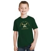Youth Dark Green T Shirt-Lacrosse Arched Cross Sticks Design