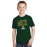 Youth Dark Green T Shirt-Game. Set. Match. Tennis Design